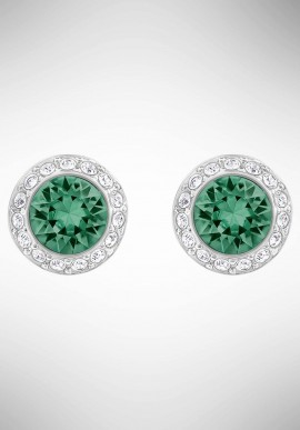 Swarovski Angelic Pierced Earrings, Green, Rhodium Plating 5267105