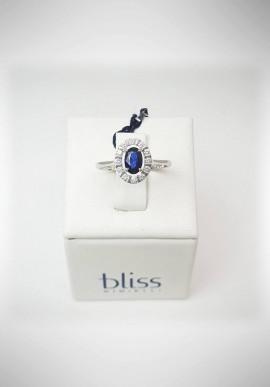 Anello Bliss oro bianco con diamanti e zaffiro 20061791