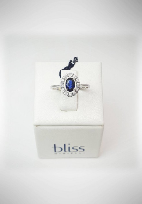 Bliss white gold ring with diamonds and sapphire 20061791