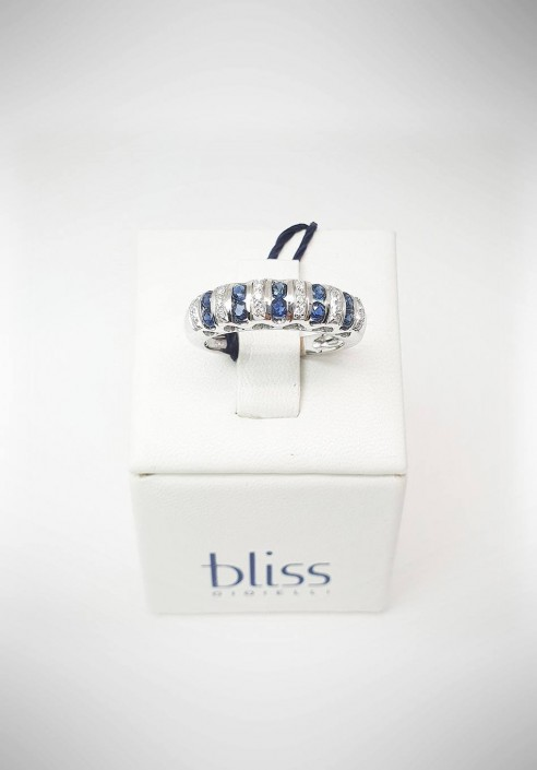 Bliss white gold ring with diamonds and sapphires 20074011
