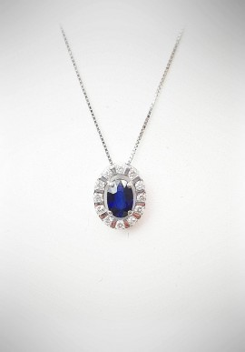 Bliss gold necklace with diamonds and sapphire 20061792