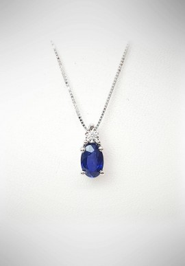 Bliss white gold necklace with diamonds and sapphire 20069990