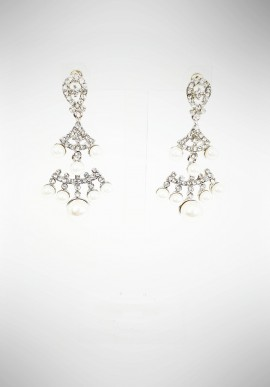 Ottaviani earrings with crystals, beads and rhinestones 50005O
