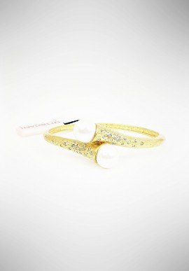 Ottaviani rigid bracelet in golden metal and pearl 500144B