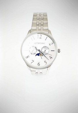 Ottaviani men watch with steel strap and silver dial 16083