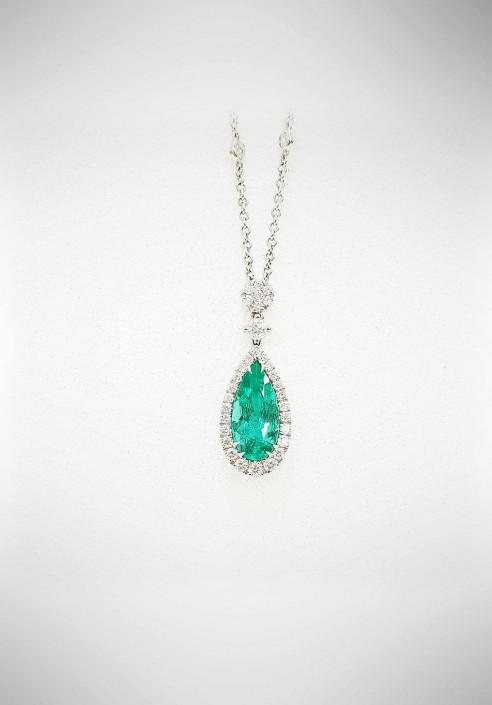 nuovo prodotto e575e 34661 Collana Crivelli con brillanti e smeraldi CRV127