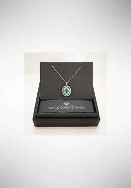 Collana con diamanti e smeraldo World Diamond Group PCLC050DISM