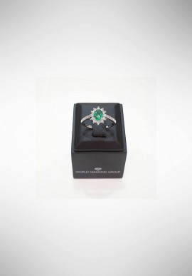 World Diamond Group Rings with diamonds and emerald ACLC019WDISM