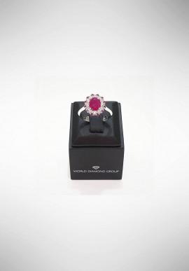 Anello con diamanti e rubino World Diamond Group APU218DIRU