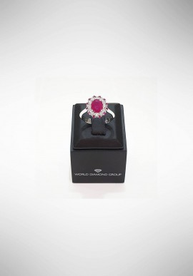 World Diamond Group Ring with diamonds and ruby APU218DIRU