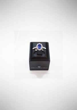 World Diamond Group Ring with diamonds and sapphires ACL045DIZB