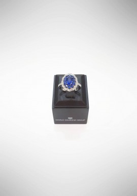 World Diamond Group Ring with diamonds and sapphires ACLC050DIZB1