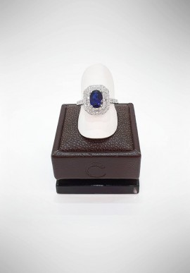 Crivelli Ring with diamonds and sapphire CRV0319