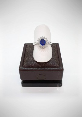 Crivelli ring with diamonds and sapphire CRV0619