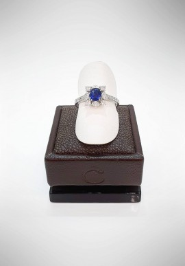 Crivelli ring with diamonds and sapphire CRV0819