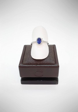 Crivelli ring with diamonds and sapphire CRV1019