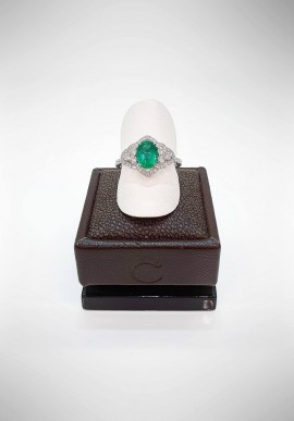 Crivelli ring with diamonds and emeralds CRV1219