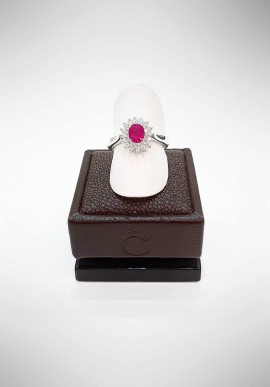 Crivelli ring with diamonds and ruby CRV1919