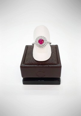 Crivelli ring with diamonds and ruby CRV2019